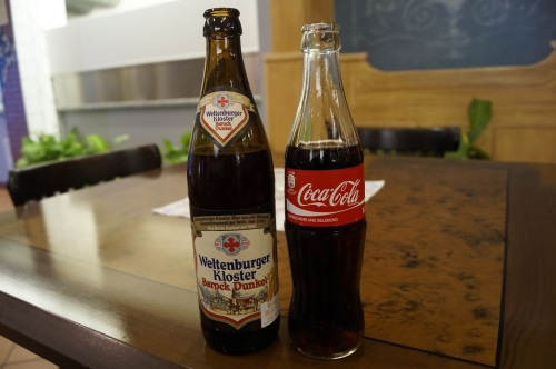 Selbstbedienung Getränke, Gläser gibt's vor Ort
